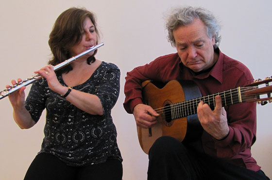 Carlo Domeniconi, composer and guitarist and Thea Nielsen, flautist